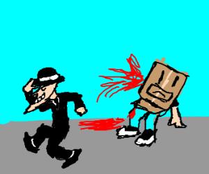 Top hat man pulls arm off box man. WTF?