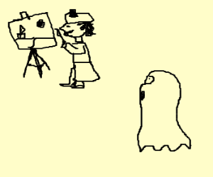 ghost looking at a guy painting
