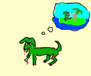 creepy zombie green dog want vacation