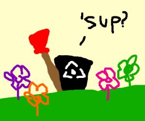 Talking dustbin with plunger in garden