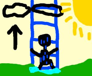 A wet guy climbing a blue sky ladder.