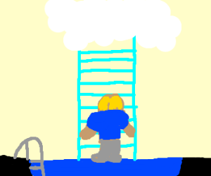 Lad takes stairway out of pool to heaven