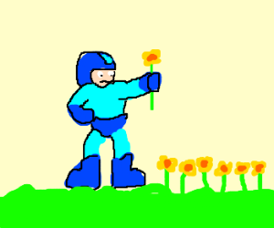 Megaman picks flowers