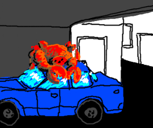 crab-creep on car cover, coiled closely