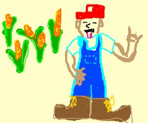 Corn farmer rocks out