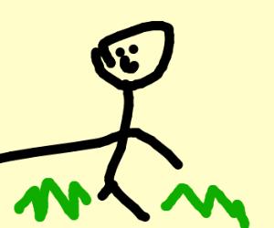Laughing plunger examines garden.