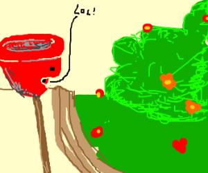 Plunger Talks to Outside Garden
