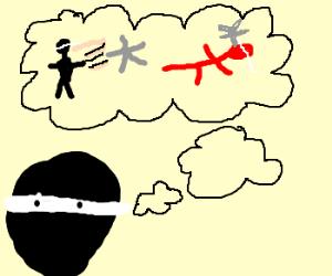 Ninja imagines killing a guy with a star
