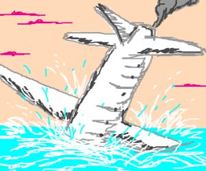 Crash landing into the sea.