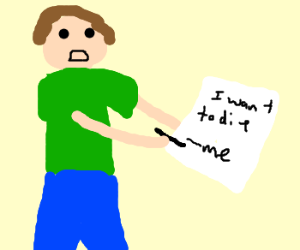 Guy in green shirt signs a sad note.