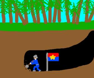 Vietcong diggin' tunnel