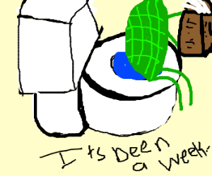 Turtle sitting on a toilet for a week