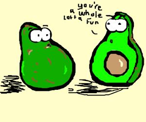 Whole avocado has a chat w/ half avocado