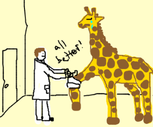 Giraffe visits the vet clinic