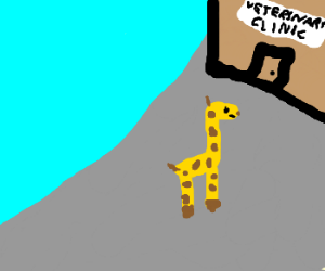Giraffe goes to the vet