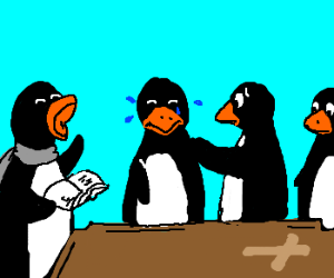 Pinguins have funeral