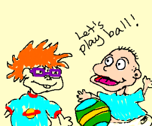 Tommy Pickles and Chuckie playing ball