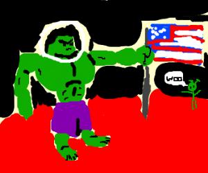 Hulk places flag on Mars,martian accept