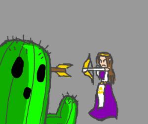 Zelda fights a cactus.