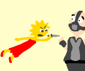 Lisa Simpson flying knife attack on Bane