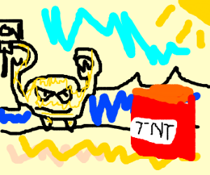 Yellow crab pulls the dynamite lever.