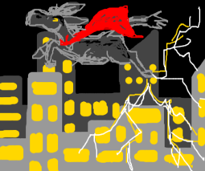 Flying donkey electrocuting city below.