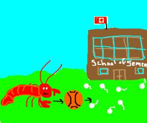 lobster passes ball to school of semen