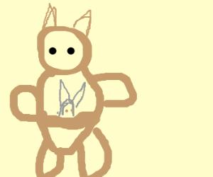 blue kangaroo w/her rabbit baby onlaptop