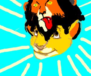 Simba wears Scar's head as a hat