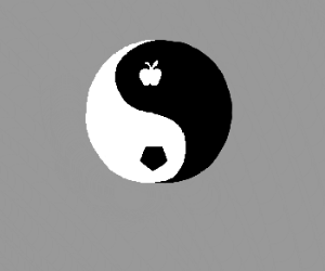Yin-Yang Symbol with Pentagon and Apple