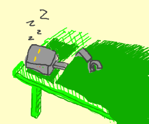 Image result for cartoon robot sleeping in a bed