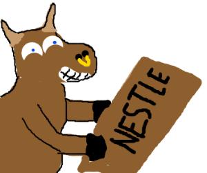 friendly bull carries chocolate bar