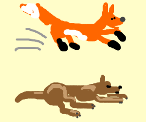 fox jumps over sleeping dog