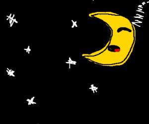 Sleeping moon in the starry sky