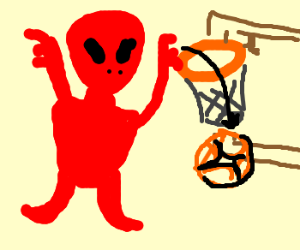 red alien dunks basketball