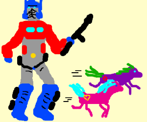 My Little Ponies run from Optimus Prime