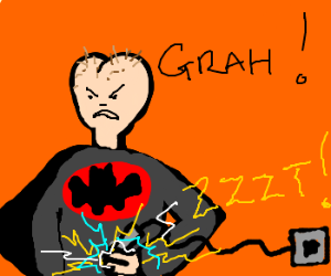 angry red butthead bat man zaps crotch