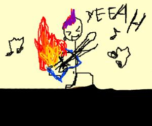 Rocker Plays so Hard, Burns Guitar