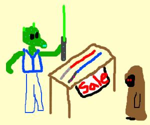 Greedo the lightsabre salesman.