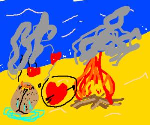 Burnt sponge on beach loves fire