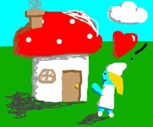 smurfette loves her mushroom home