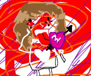 Licking a lovestruck heart