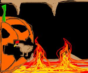 Pumpkin in hell eats chicken alive.