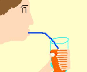 12 fingers guy drinking orange soda