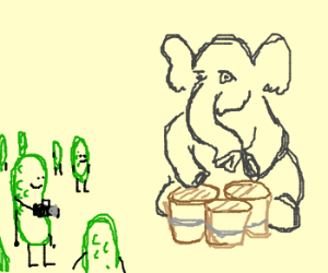 Elephant is busking for pickles