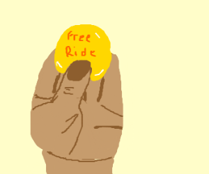 A hand holding free ride tokens