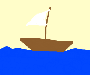 lonely tub boat adrift at sea