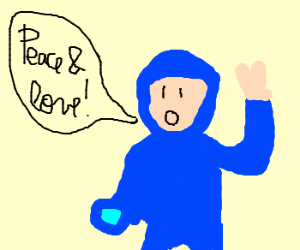 Person in MegaMan costume wants peace