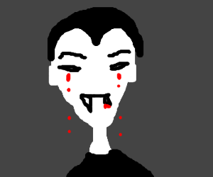 vampire cries blood over chipped tooth