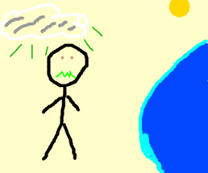 Man out of water thinks cloud is smelly